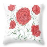 Rojo Cinco Throw Pillow
