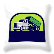 Roll-off Truck Side Up Half Circle Retro Throw Pillow