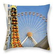 Roller Coaster And Ferris Wheel Throw Pillow