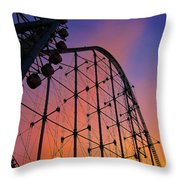 Roller Coaster At Sunset Throw Pillow
