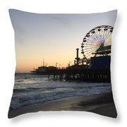 Roller Coaster Beach Throw Pillow