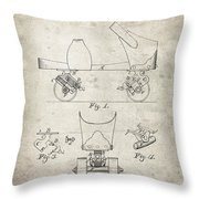 Roller Skate Patent - Patent Drawing For The 1882 F. A. Combes Roller Skate Throw Pillow