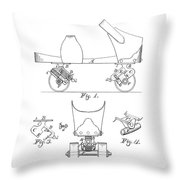 Roller Skate Patent - Restored Patent Drawing For The 1882 F. A. Combes Roller Skate Throw Pillow