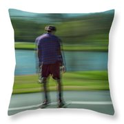 Rollerbladers In Forest Park Throw Pillow