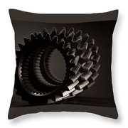 Rollin' Gears Black And White Throw Pillow