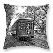 Rollin' Thru New Orleans 2 Bw Throw Pillow