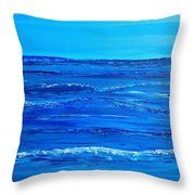 Rolling Blue, Triptych 2 Of 3 Throw Pillow