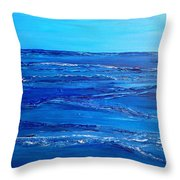 Rolling Blue, Triptych 3 Of 3 Throw Pillow