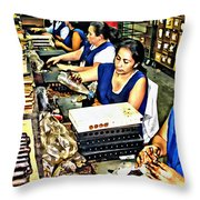 Rolling Cigars In Honduras Throw Pillow