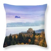 Rolling Fog At Columbia River Gorge In Fall Throw Pillow