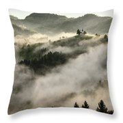 Rolling Fog At Sunrise In The Skofjelosko Hribovje Hills With St Throw Pillow