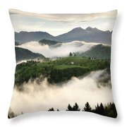 Rolling Fog At Sunrise With Mountains Of Kamnik Savinja Alps At  Throw Pillow