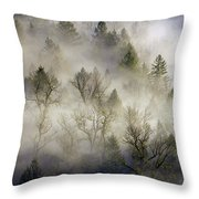 Rolling Fog In Sandy River Valley Throw Pillow