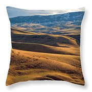 Rolling Foothills And The Bighorn Mountains Throw Pillow