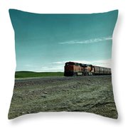 Rolling Freight Train Throw Pillow