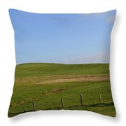 Rolling Hills And Fields Along The Cliff's Of Moher Throw Pillow