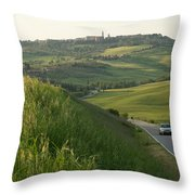 Rolling Hills Cradle A Winding Road Throw Pillow