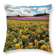 Rolling Hills Of Flowers In Summer Throw Pillow