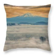 Rolling Low Fog Over City Of Portland Throw Pillow