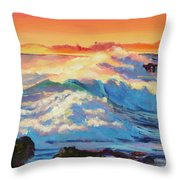 Rolling Ocean Surf - Plein Air Throw Pillow