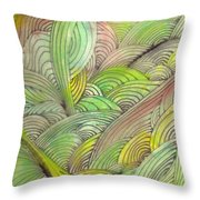 Rolling Patterns In Greens Throw Pillow