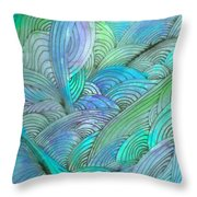 Rolling Patterns In Teal Throw Pillow