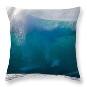 Rolling  Wave At Haleiwa Throw Pillow