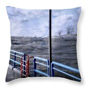 Rolling Waves In Winter At Grand Haven Throw Pillow