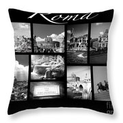 Roma Black And White Poster Throw Pillow