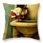 Roman Girl At A Fountain Throw Pillow
