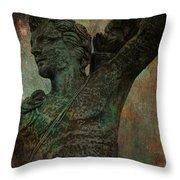 Roman Hunter Statue Torso Left Throw Pillow
