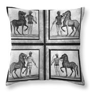 Roman Mosaic: Charioteers Throw Pillow