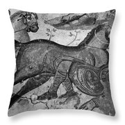 Roman Mosaic: Man & Horse Throw Pillow