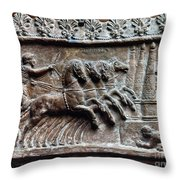 Roman Relief: Chariot Race Throw Pillow