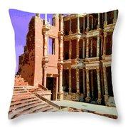 Roman Ruins At Sabrayha Throw Pillow