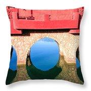 Roman Style Bridge On Red Sea Throw Pillow
