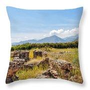 Roman Villa Ruins On Crete Throw Pillow