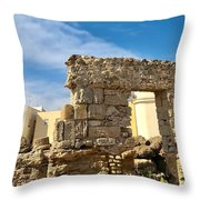 Roman Wall In Cadiz Spain Throw Pillow
