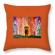 Romance In The Rain Throw Pillow