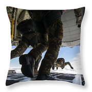 Romanian Paratroopers Perform A Halo Throw Pillow