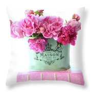 Paris Red Pink Peonies Maison Flowers Pink Book - French Aqua Pink Peonies Books Wall Decor Throw Pillow