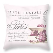 Romantic French Victorian Postcard Throw Pillow