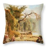 Romantic Garden Scene Throw Pillow by Hubert Robert