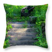 Romantic Garden Scene Throw Pillow
