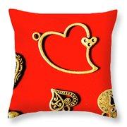 Romantic Heart Decorations Throw Pillow