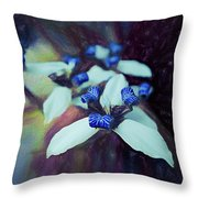Romantic Island Lilies In Blues Throw Pillow