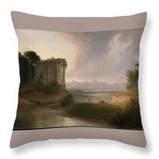 Romantic Landscape With A Temple Throw Pillow