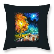 Romantic Night 2 - Palette Knife Oil Painting On Canvas By Leonid Afremov Throw Pillow