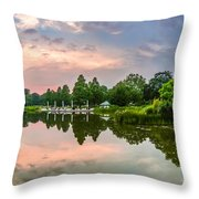 Romantic Pond In Park In Hamburg Throw Pillow