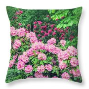 Romantic Rhododendrons Throw Pillow